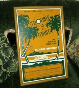 Bamboo Wood Picture Frame with PROMOTION POSTER Miami OPERA TROUBLE IN TAHITI Ti