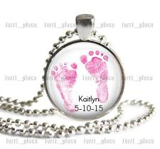 Custom New Baby Girl Feet Glass Pendant & Chain Personalized Jewelry Name & Date