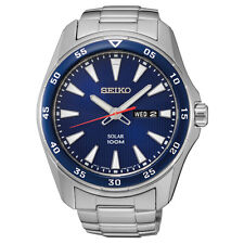 New Seiko SNE391 Solar Blue Dial Stainless Steel Bracelet Men's Watch