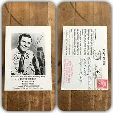 VTG 1956 Dusty Owens Country Music Signed Promo Postcard Autographed Fan Club