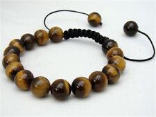 Men's Bracelet 10mm NATURAL TIGER EYE STONE GEMS ROUND BEADS C30229