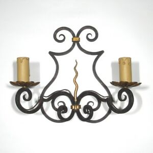 """Vintage French Wrought Iron Sconce and Tole, Hand Forged, """"French Riviera"""" Style"""