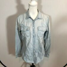 GAP Women Jean Blouse Button Down Shirt Light Blue Denim Top Size Medium - E50