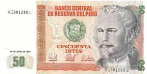 "PERU 50 Intis 🌎 P- 131b, UNC from 1987; ⚡FIRST ""A"" Prefix⚡ 🛢🛢 Oil Rig 🛢🛢"