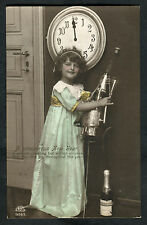 Posted 1914 to Wainscott: New Year Greetings: Young Girl, Champagne, Clock