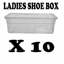 10 x PLASTIC LADIES SHOE BOX STORAGE STACKABLE CLEAR BOX DRAWER TRANSPARENT UNIT