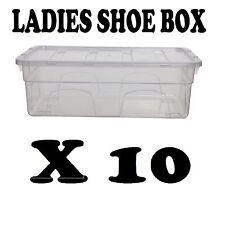 10 x caja de zapatos de plástico señoras de Almacenamiento Cajón Transparente Transparente Caja de apilado Unidad