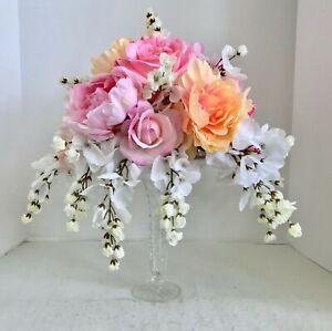 Floral Arrangement Centerpiece Multi-Colored Silk Flowers Cut Glass Vase