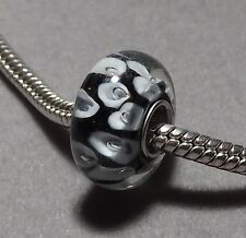 WHITE dots on GREY - Silver plated EUROPEAN Murano Glass Bead   (f372)