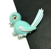Vintage Old PLASTIC Google Eyed BLUE BIRD Happiness Brooch Pin  Figural  ii124f