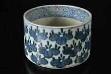 X6588: Japanese Old Imari-ware Blue&White Flower Muffle painting INCENSE BURNER