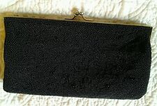Vintage DEBBIE Black Beaded Purse, Satchel,  Clutch, Bag