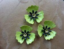 4 sets vintage metal enamel flower bead, poppy green, yellow, 32mm