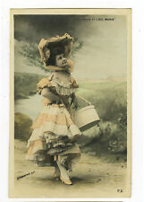 c 1901 Vintage Lace Peticoat FASHION BONNET LADY French tinted photo postcard