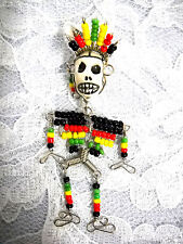 NEW ISLANDER RASTA SEED BEAD COLOR MAN WIRE & BEAD & SOCCER BALL SKULL PENDANT