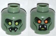 LEGO - Minifig, Head w/ Fangs, Green Lips & Yellow Eyes / Open Mouth & Red Eyes