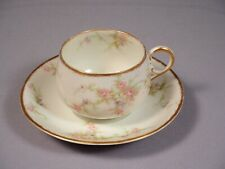 Limoges France Theodore Haviland Pink Flowers Tea Coffee cup Saucer set H504?