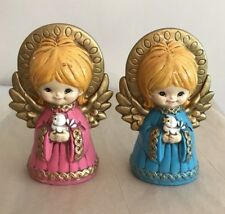 Ceramic Angels Christmas Figurines Pink & Blue & Gold Halo Retro Holiday Decor