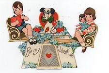 Adorable 1930s Mechanical Valentine of Kids & Dog on a Teeter Totter