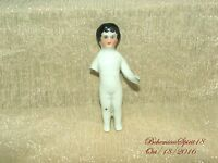 ANTIQUE 1800's GERMAN CHINA FROZEN CHARLOTTE MINIATURE AS IS 3'' HEIRLOOM DOLL