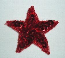 "0111 ~ RED STAR  PATRIOTIC SEQUIN BEADED APPLIQUE  1.5"""