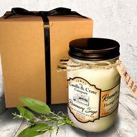 Handmade Mason Jar Soy Candle That Smells AMAZING! Rosemary Sage, 16oz.