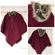 Poncho Burgundy Women Hooded Faux Fur One Size Wool Blend (B135)