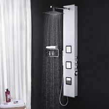 Edles Glas Duschpaneel mit Thermostat in Weiss Dusche Duschsäule