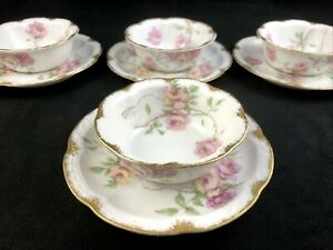 Set of 4 Haviland Limoges Schleiger 1151E Pink BALTIMORE ROSE Ramekin w/ Saucer