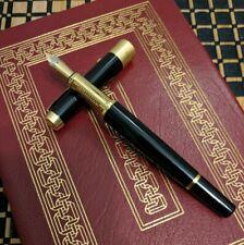 Fountain Pen Custom Flex Nib Blue Black Ink Fine (Glossy Black) w/Spares