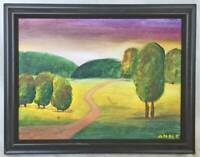 Folk Art Naive Vintage Original Painting Dirt Road Thru Puffy Humanized Trees