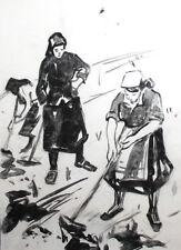 Vintage ink drawing portrait working women