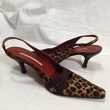 """Donald J Pliner 8.5 Lois Leopard Pumps 3"""" Heels Sling Back Shoes"""