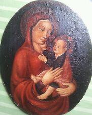 Frammento dipinto antico a olio Madonna con Bambino