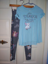 Justice gray leggings,blue tiop outfit embellished graphic winged dogs size 10