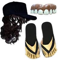 Billy Bob Hillbilly Redneck Costume Kit - Teeth, Mullet Hat, and Sandals