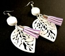 White Lightweight Wood Fashion Earrings with Faux Suede Mauve Tassels #1691