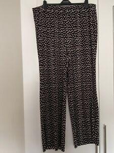 Plus Size Plisse Polka Dot Wide Leg Trousers Sz 26