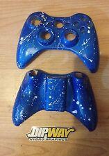 Custom Xbox 360 Controller Shell - Blue with white splatter