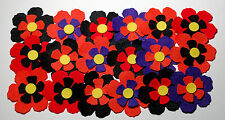 24 x Halloween Felt Flowers Die Cut Orange Pumpkin Black Purple Embellishments