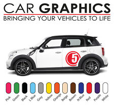 Mini car graphics number decals stickers cooper vinyl design mn6