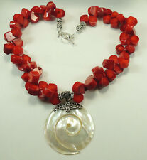 Statement Red Coral Necklace  Swirl Mother of Pearl Sterling Silver Wedding