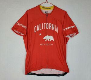 Men's Bontrager California Trek Bicycle Full Zip Cycling Jersey Size XL Red Bike
