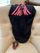 GK Elite Gymnastics Dance Leotard Girls Adult Small AS Black and Pink w Scrunchy