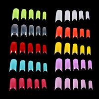 500 PCS Colorized False French Nail Art Tips Acrylic Gel Long Tips 10 Sizes