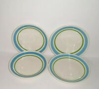 HTF 4 Vintage Homer Laughlin Restaurant Ware White Green Blue Ceramic Plates USA
