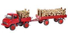 Schuco Unimog U411 mit Anhänger und Holzladung dunkelrot 1:43 Limited Edition