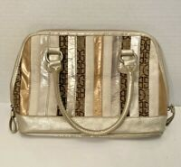 GIANI BERNINI Tan Brown Stripe Leather Textile Handbag Removable Strap Zip Top