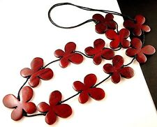 1 Hand Carved & Painted Brown Red Wood Butterflys Dangle Necklace - # B213