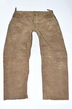 """Brown Real Leather Biker Motorcycle Straight Men's Trousers Pants Size W35"""" L31"""""""